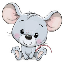 Cartoon Mouse Isolated On A Wh...