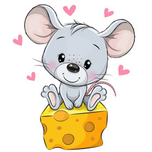 Cartoon Mouse Is Sitting On A ...