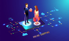 Online Shopping Application In Smartphone With Multiple Services, Woman Shop Online Through Smartphone On Shiny Blue Background.