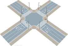左側通行の交差点のイメージ.ベクター素材