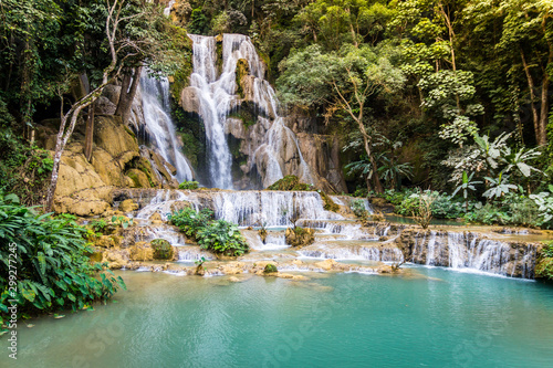 Wall Murals Forest river Tat Kuang Si Waterfalls. Beautiful waterfalls in Luang Prabang, Laos.