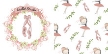 Pink Pointe Shoes With Bow. Decorative Circle Floral Frame With The Inscription Ballet Studio. Pink Pointe Shoes And Ballerina On White. Decorative Seamless Pattern On White.