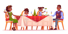 Christmas Dinner, Happy Family Sitting At Festive Served Decorated Table With Food, Afro-american Dark Skin Mother Father And Kids Celebrate Winter Holidays. Cartoon Vector Illustration, Clip Art