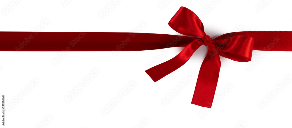 Fototapeta Red gift bow on white