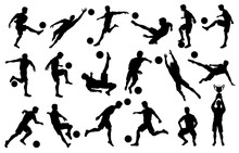 Silhouettes Soccer Players In ...