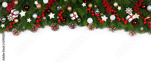 Poster Pays d Europe Christmas frame of tree branches