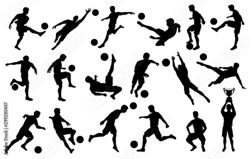 Fotografie, Obraz  Silhouettes Soccer Players in Various poses