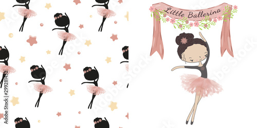 Little cute ballerina princess of the ballet Canvas Print
