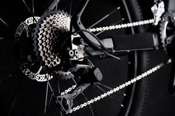 closeup the moutain bike parts