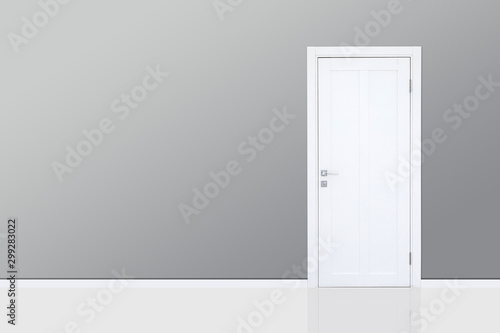 Close up of closed wooden door in the empty room with copy space Canvas Print