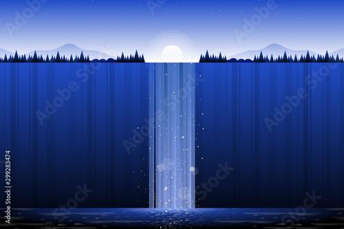 Montage in der Fensternische Dunkelblau Waterfall landscape with blue sky and hillside illustration