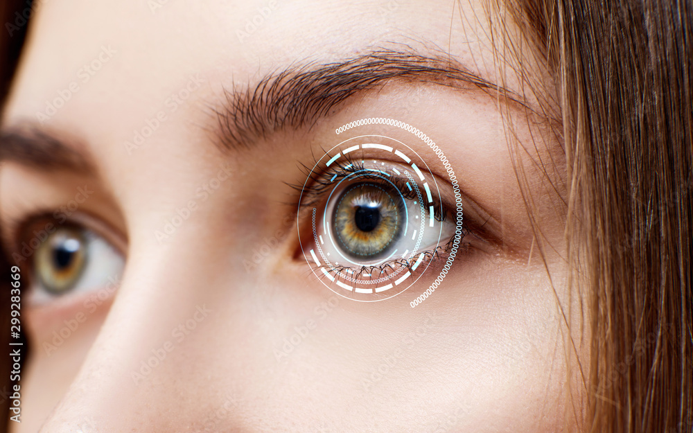 Fototapeta Digital female eye in process of scanning.