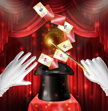 Magic Show Trick With Playing Cards Flying Out Of Black Top Hat, Hands In White Gloves Hold Wand On Red Draped Backstage Background. Magician Entertainment Performance Realistic 3d Vector Illustration
