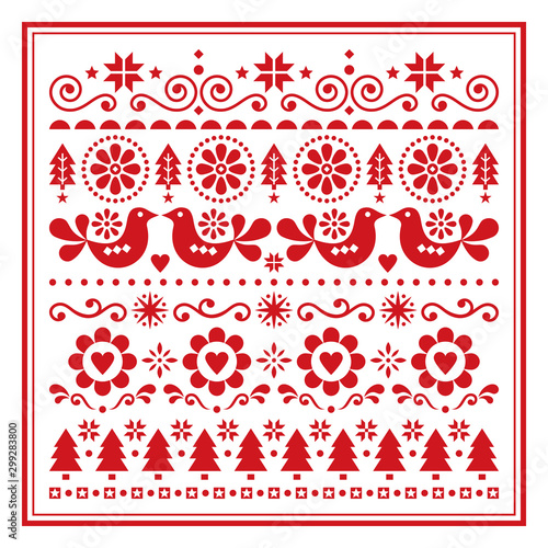 Fotografie, Obraz  Christmas folk art vector greeting card, Scandinavian festive pattern with birds