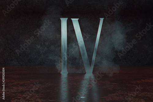 Fotografía  3d rendering of silver Roman numeral number four IV on grunge floor