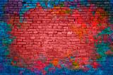 Farby splash, mur z cegły graffiti, kolorowe tło