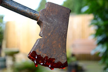 Hand Axe Dripping With Blood