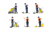 Cleaners Executing Their Work Duties Vector Illustrations Set