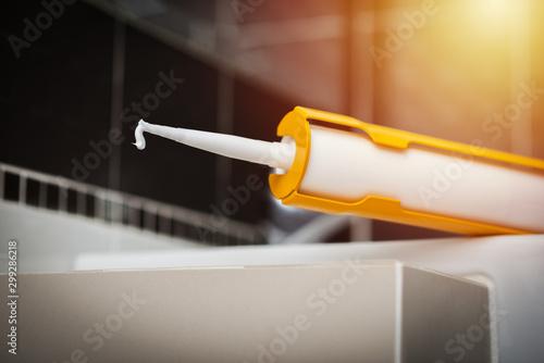 Photo white silicone sealant