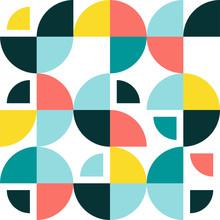 Swiss Modernism Geometric Round Shapes Background. Vector Seamless Pattern With Modern Swedish Geometry.