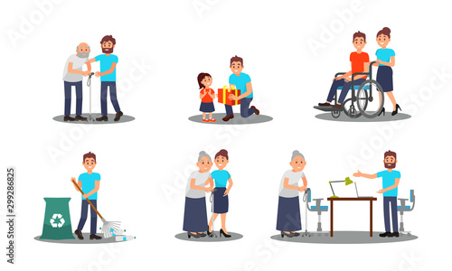 Fotomural  People Characters Working as Volunteers Vector Illustrations Set