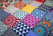 Colorful Cushions And Pillows In Dubai Souks, United Arab Emirates