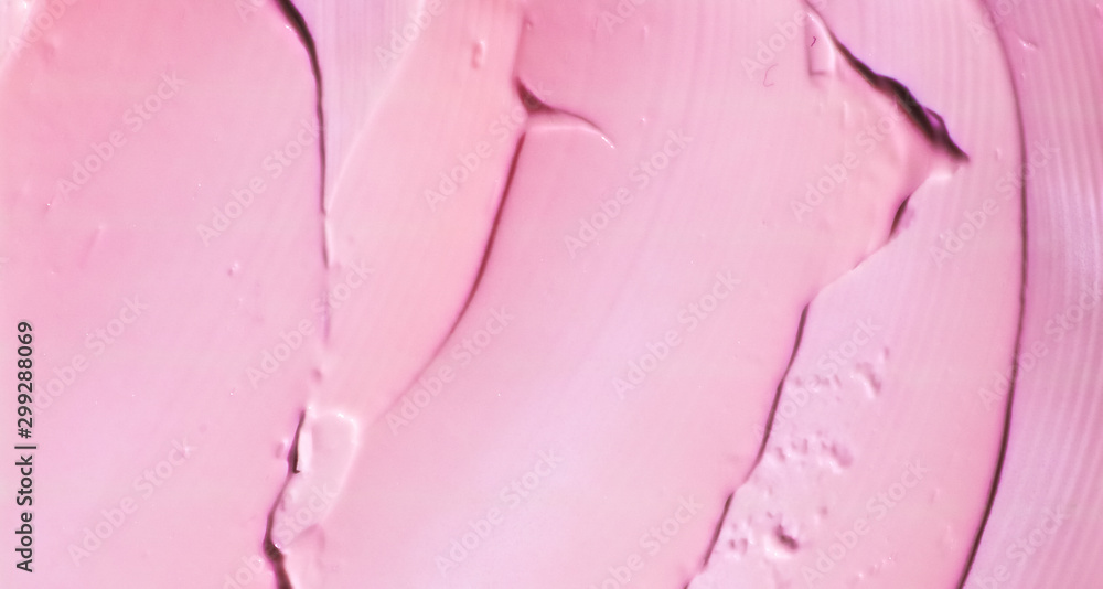 Fototapety, obrazy: Pink cosmetic texture background, make-up and skincare cosmetics product, cream, lipstick, moisturizer macro as luxury beauty brand, holiday flatlay design