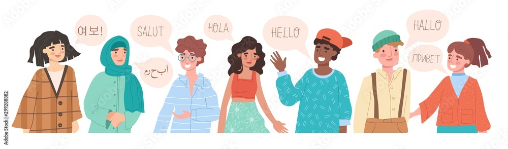 Fototapeta Hello in different languages. Diverse cultures, international communication concept. Native speakers, friendly men and women cartoon characters. Vector illustration