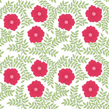 Red Bloom Flowers And Green Leaves Seamless Pattern Vector Background