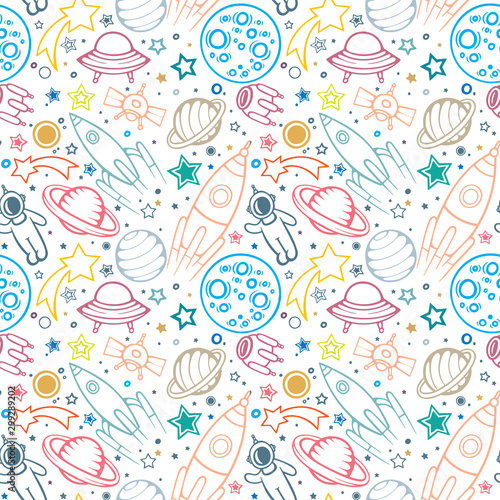 Canvas Print Space seamless pattern for Kids