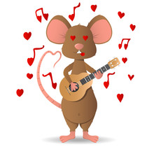 Loves A Cute Little Mouse, Brown Playing A Little Guitar. Isolate On A White Background.