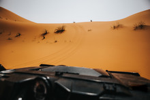 Beautiful View Of Desert Dune From A Rally Buggy Cockpit During Rally Adventure.