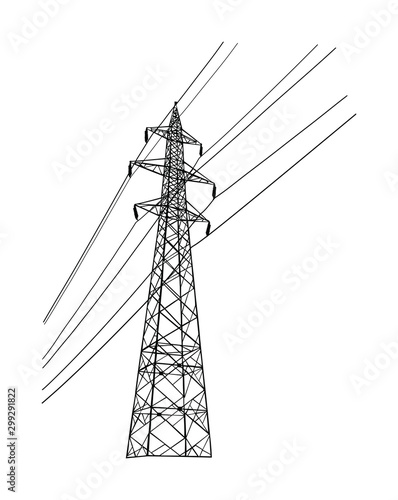High voltage power line electric transmission tower vector silhouette isolated on white Fototapeta