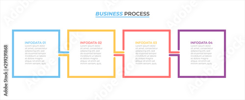 Photographie  Business process infographic design label with 4 options, steps, square concept