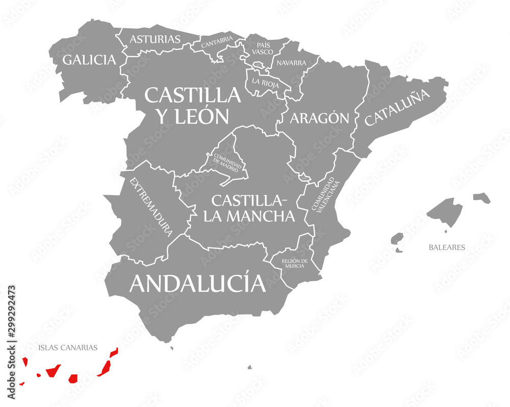 Fototapety, obrazy: Islas Canarias red highlighted in map of Spain