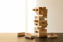 Blocks Wood Game On Table.