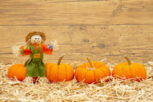 Fall Scene With Scarecrow And Orange Pumpkins On Straw Hay With Weathered Wood Background