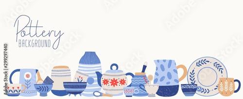 Valokuvatapetti Handmade pottery flat vector illustration