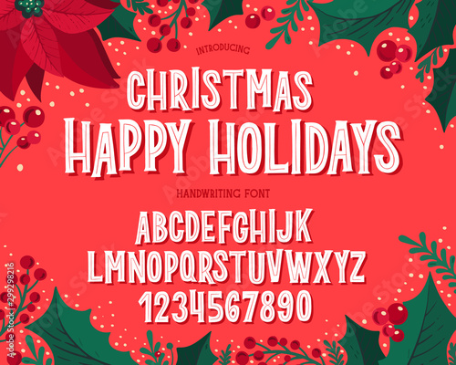 Christmas font. Holiday typography alphabet with festive illustrations and season wishes. - 299298216