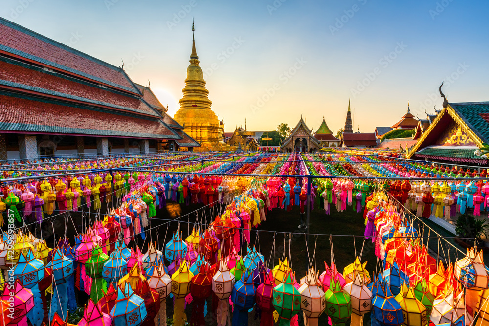 Fototapety, obrazy: The Beautiful Lanna lamp lantern are northern thai style lanterns in Loi Krathong or Yi Peng Festival at Wat Phra That Hariphunchai is a Buddhist temple in Lamphun, Thailand.