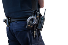 Police Man With Gun Belt.Cutout