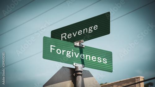 Fotomural Street Sign to Forgiveness versus Revenge