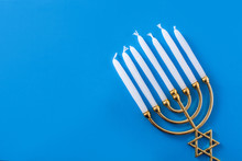 Jewish Hanukkah Menorah On Blu...