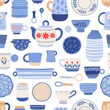 Modern Ceramics Flat Vector Seamless Pattern. Handmade Dinnerware Background. Decorative Tableware And Utensils Backdrop. Creative Wallpaper, Textile, Wrapping Paper Design In Cartoon Style.