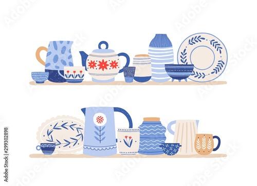 Cuadros en Lienzo Beautiful handmade ceramics on shelves flat vector illustration