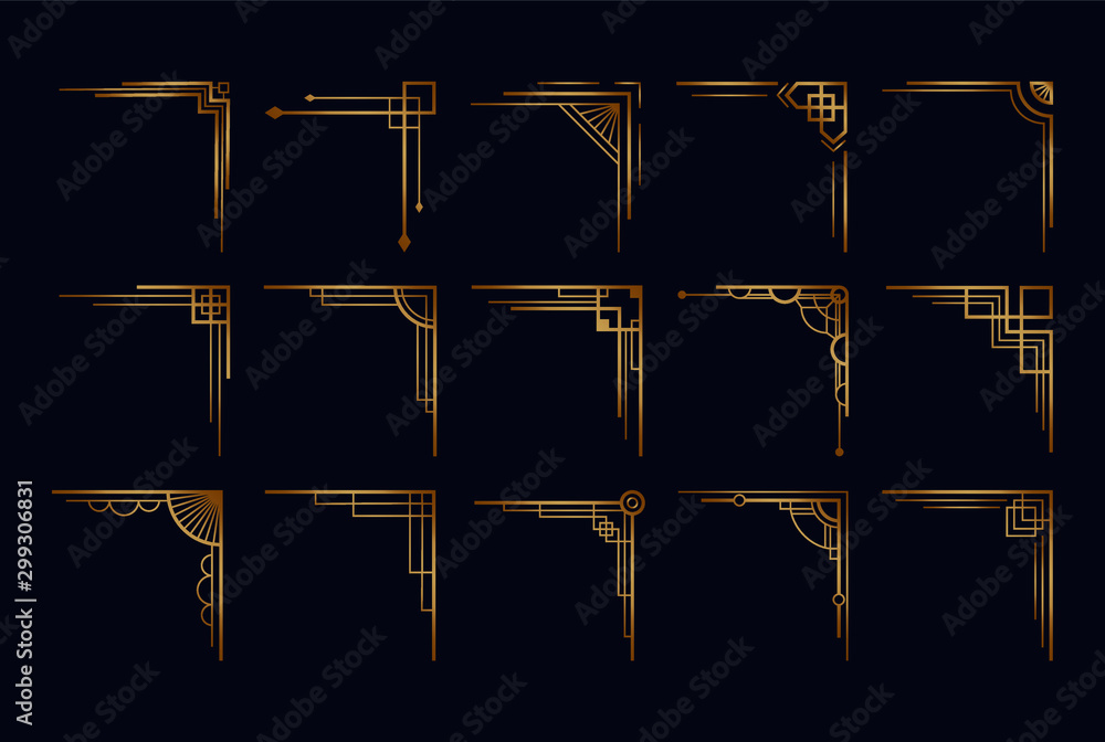 Fototapeta Vintage art deco corner set. Vector golden geometric template in style of 1920s, artdeco corners for borders and frames
