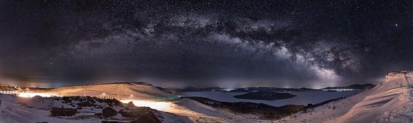 北海道・美幌峠の天の川 パノラマ