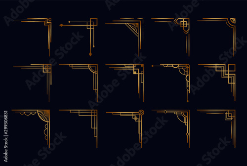 Obraz Vintage art deco corner set. Vector golden geometric template in style of 1920s, artdeco corners for borders and frames - fototapety do salonu