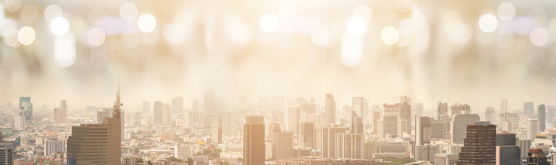 Fototapeta na wymiar Bokeh City Background. Panoramic and Perspective View Business Concept of Success Industry Tech Architecture. Celebrate party city, Bangkok view background.  city skyline,