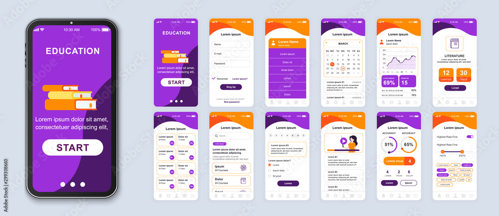 Fototapeta Education mobile app smartphone interface vector templates set. Online courses web page design layout. Remote studying. Pack of UI, UX, GUI screens for application. Phone display. Web design kit